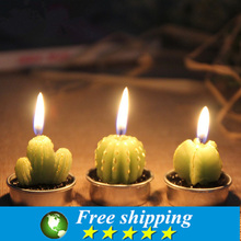 18pcs/box!Artificial Green Plants Candle Decoration Min Cactus Candles For Birthday Wedding Decoration Home Decor,Free shipping.