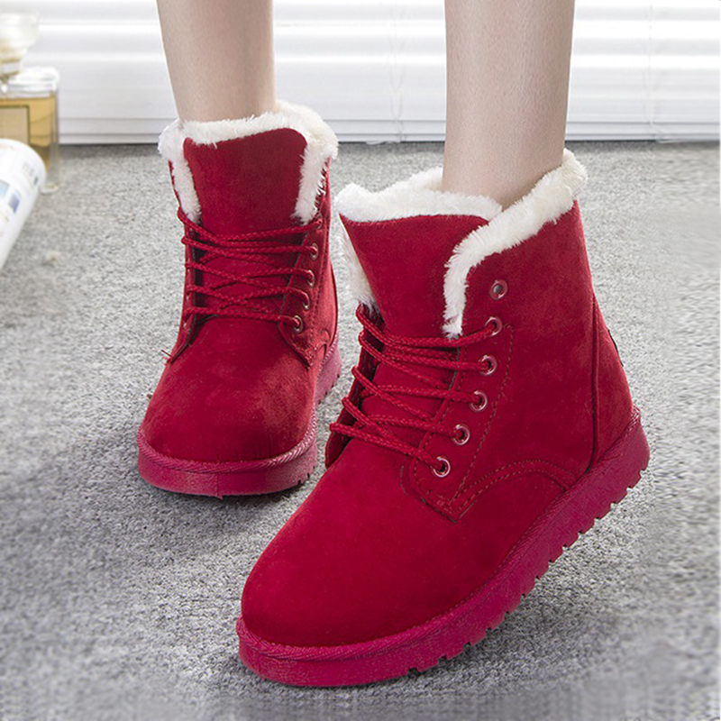 Fashion Women Snow Boots Flat Heels Botas Mujer Shoes Women Boots Winter 2015 Snowboots Black Fur Ankle Boots For Women<br><br>Aliexpress