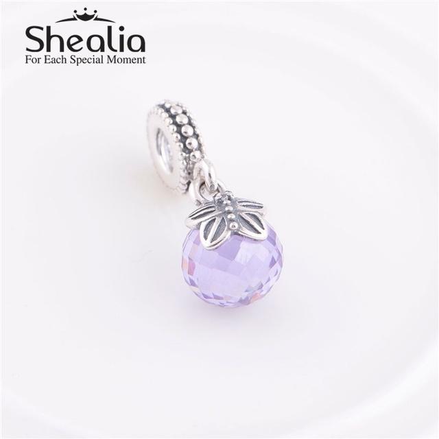 Стерлингового серебра 925 светло-фиолетовый CZ утро бабочка мотаться бусины DIY SHEALIA ювелирные известный бренд подвески браслеты LW362C