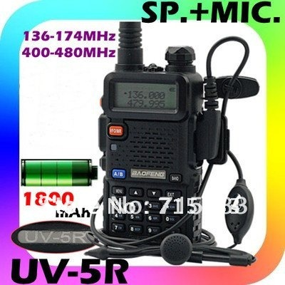 2016 HOT Baofeng UV-5R Dual band two way radio with earpiece Baofeng UV5R 5W 128CH FM VOX UHF+VHF Portable walkie talkie(China (Mainland))