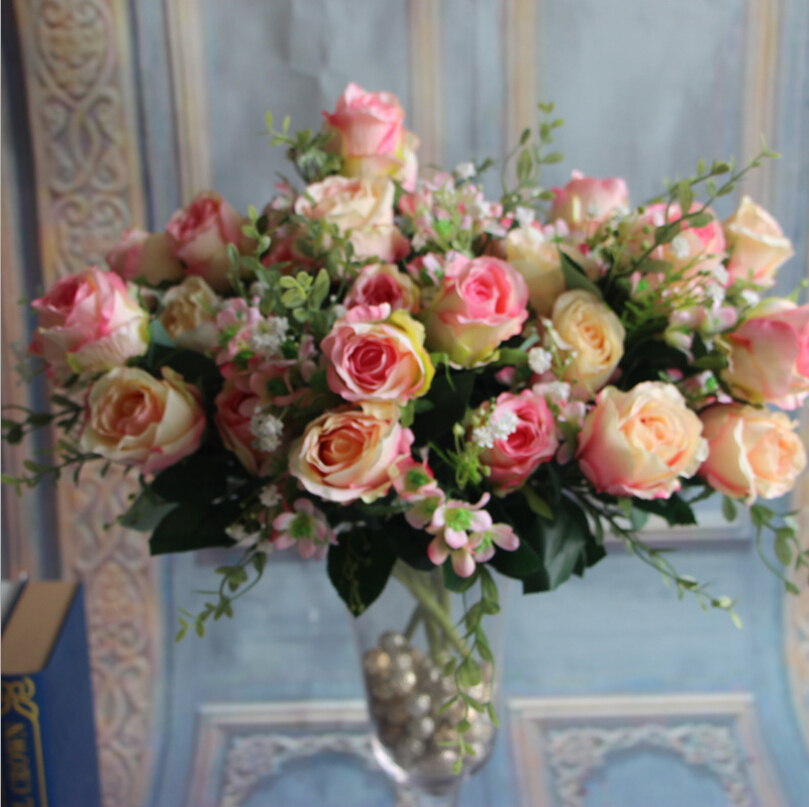 50pcs/lot Spring Sunshine Rose Bouquet Simulation Flowers For Wedding Or Store Shop Home Decorations