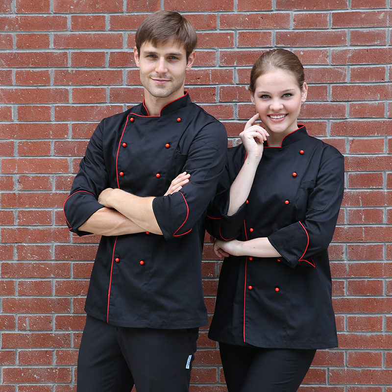 Top quality Cook suit long-sleeve work wear stand collar double breasted hotel chef uniform polyester cotton cook jacket(China (Mainland))