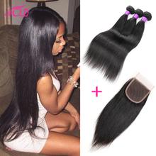 Brazilian Virgin Hair Straight With Closure 3 Bundles Brazilian Straight Hair With Closure 7a Unprocessed Cheap Human Hair Weave(China (Mainland))