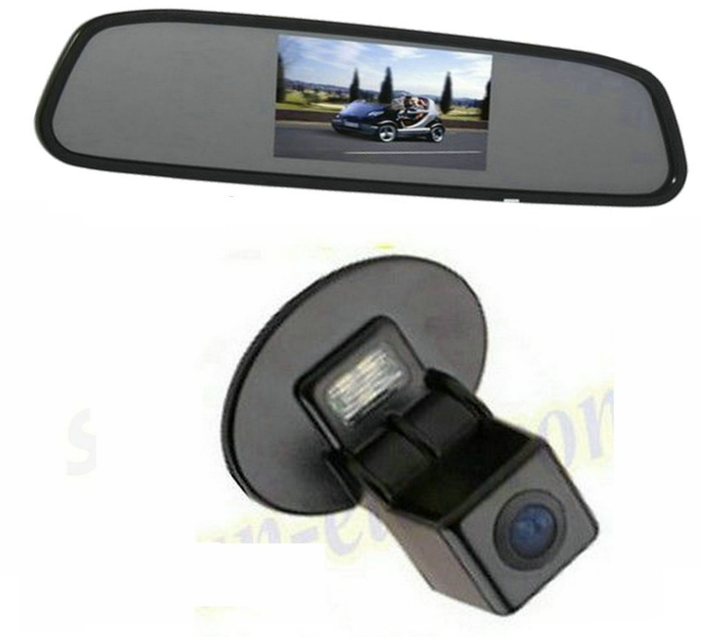 CCD Car Rear View Reverse Parking Camera + view Mirror Monitor Screen LCD Kit KIA Forte Hyundai Verna Solaris - Sunroad electronic factory store