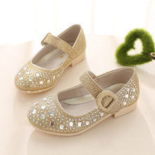 2016 Children Princess Glitter Sandals Kids Girls Shoes Square Heels Dress Shoes Party Shoes Pink /Blue/Silver/Gold Size 26~36(China (Mainland))