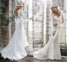 Buy Long Sleeve Mermaid lace Wedding Dresses 2017 V-Neck Applique Backless Bride Dresses New Arrival Sweep Train vestido de noiva for $239.00 in AliExpress store