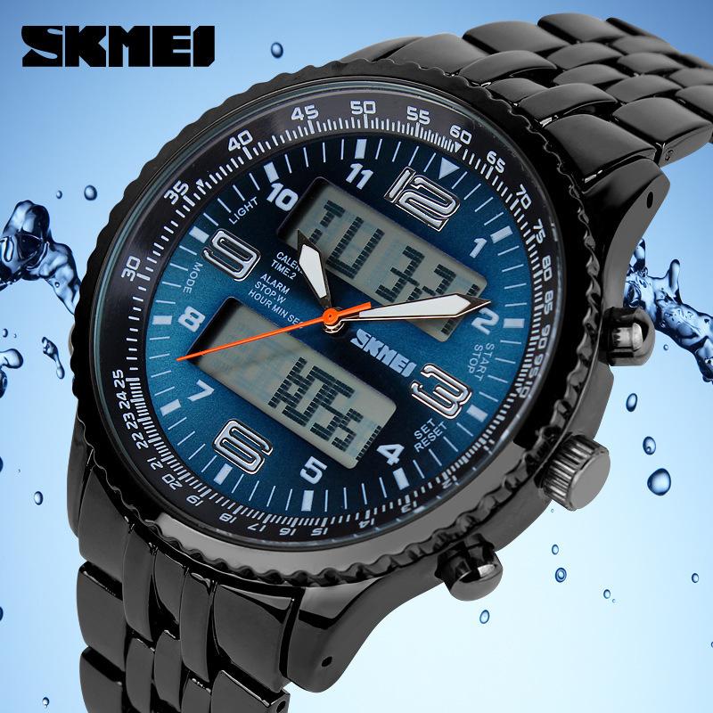 2015 Hot Skmei LED Digital Watches Men luxury Brand Military Quartz Watch relogio masculino Full Stainless Steel Men Wristwatch<br><br>Aliexpress
