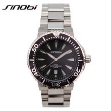 SINOBI Waterproof 10 ATM Men Quartz-watch Stainless Steel Band Pulseira Masculina Complete Calendar Multifunction Watches Men