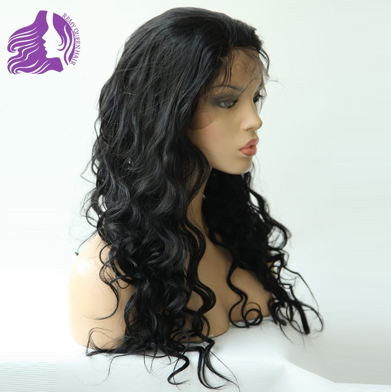 Queen Hair Products Brazilian Remy Front Lace Wigs 1# Jet Black Body Wave 12 14 16 18 20 22 24 Womens Wigs DHL / UPS Free<br><br>Aliexpress