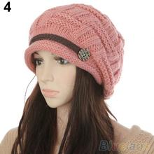 Women's Fashion Braided Autumn Winter Warm Baggy Beanie Knit Crochet Ski Hat Cap  1T49(China (Mainland))