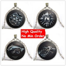 6 Style Steampunk Game Of Throne Glass Pendant Necklace House of Stark Black Wolf Choker Necklace Women Men Jewelry Gift(China (Mainland))