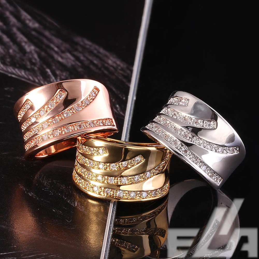 2016 new jewellery ouro 18k gold jewelry stone fashion aliancas de casament wedding rings(China (Mainland))