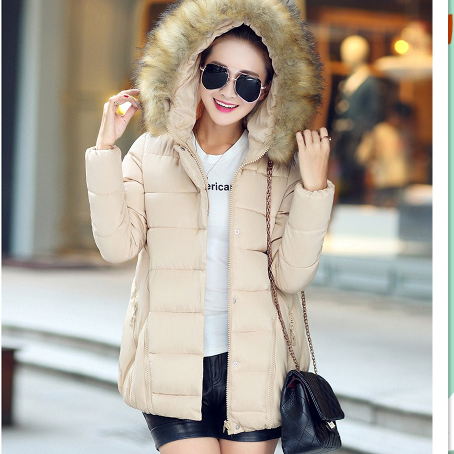 Desigual Fur Collar Hooded Coats New 2015 Winter Jacket Women Solid Zipper Patchwork Parka Long Coat Manteau Femme