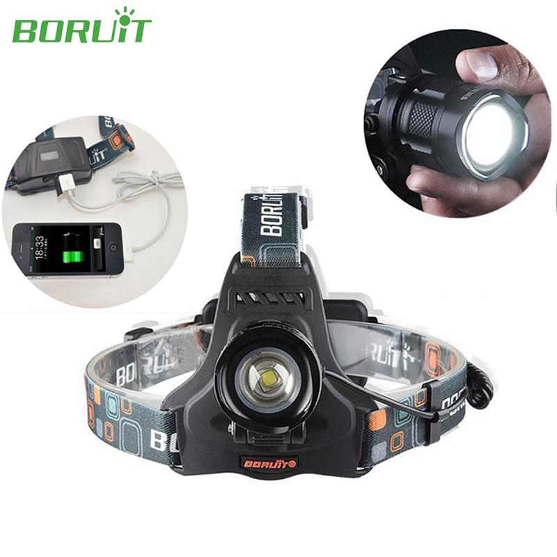 Boruit Cree XML2 Zoomable LED Headlight 2000 Lumens Headlamp USB Rechargeable Flashlight Head Lanterna for Caming Hiking Fishing<br><br>Aliexpress