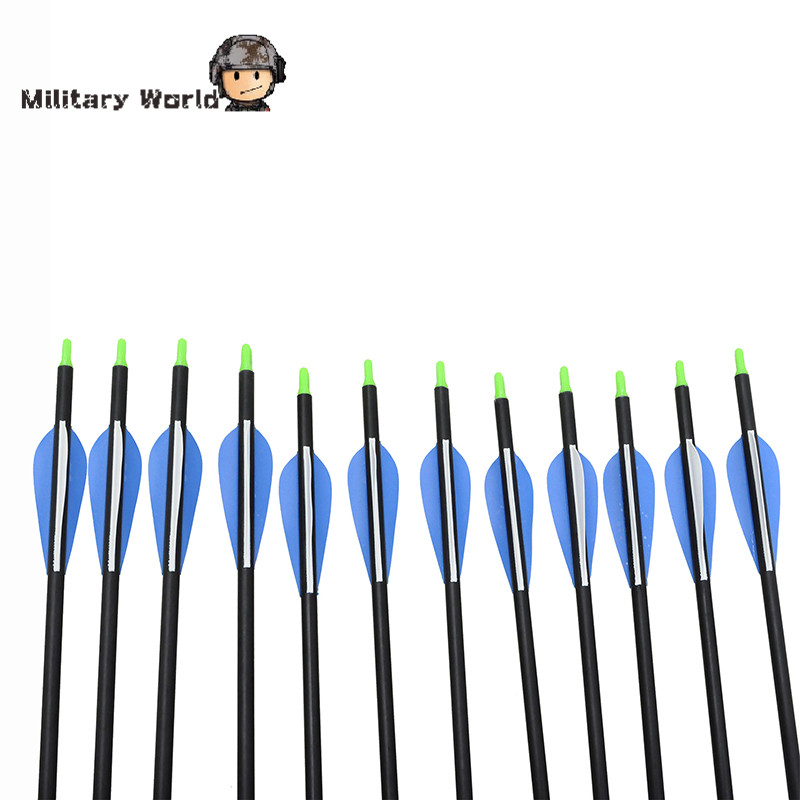 12pcs pack Outdoor Archery Sports Fiberglass Arrows 80cm Length 15 80lbs Lightweight Arrows For Compound Bow