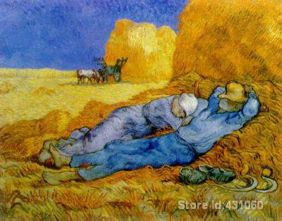 Hand-painted oil painting,Wall art,noon rest from work after by Vincent Van Gogh canvas, Home Decor, High quality(China (Mainland))