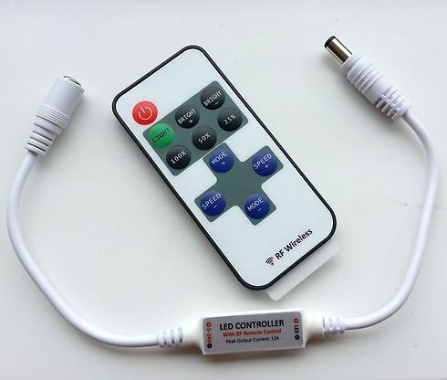 Mini WIRELESS LED RF Remote Controller for LED Strip DC 5-24V - Plug connectors