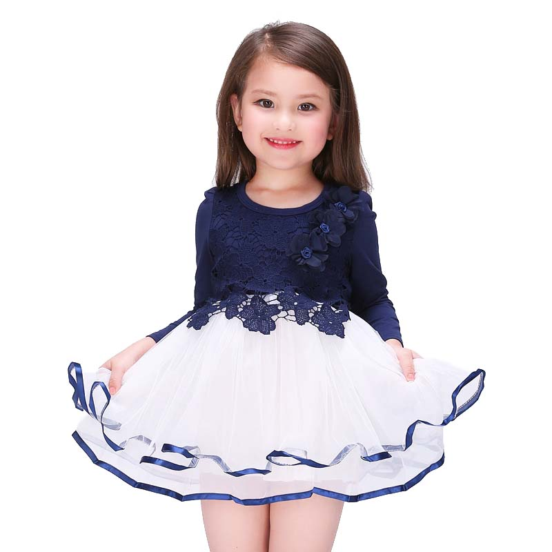 New Spring Summer Baby Girls Lace Dresses Fashion Flower Printed Mesh Lace Cotton Collect Waist Long Sleeve Kids Clothes(China (Mainland))