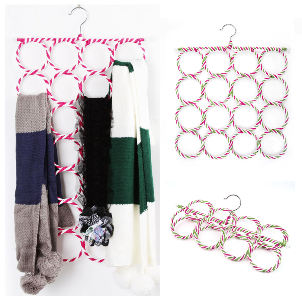 Hot 16 Holes Ring Rope Slots Rattan Weaving Folding Scarf Holders Hangers Hot New(China (Mainland))