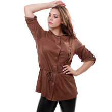 BFDADI 2016 летний стиль новое поступление весна-лето женщины блузки свободного покроя эластичность длинные рубашки с капюшоном вершины кардиган Большой размер 76859(China (Mainland))