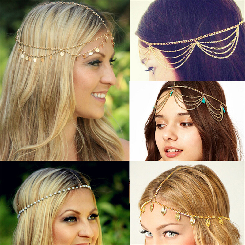 New Beach Multi Layer Metal Gold Plated Head Chain Hair Jewelry Tassel Pearl Leaves Bindi hair accesories Boho Headband Tiare(China (Mainland))