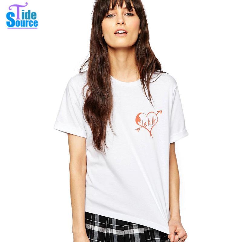 TideSource 2016 Brief Unique Le font b Kilt b font Heart Motif Printed TShirt Women Summer