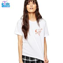 TideSource 2016 Brief Unique Le Kilt Heart Motif Printed TShirt Women Summer Tops Short Sleeve Crew Neck Loose Casual T-Shirts