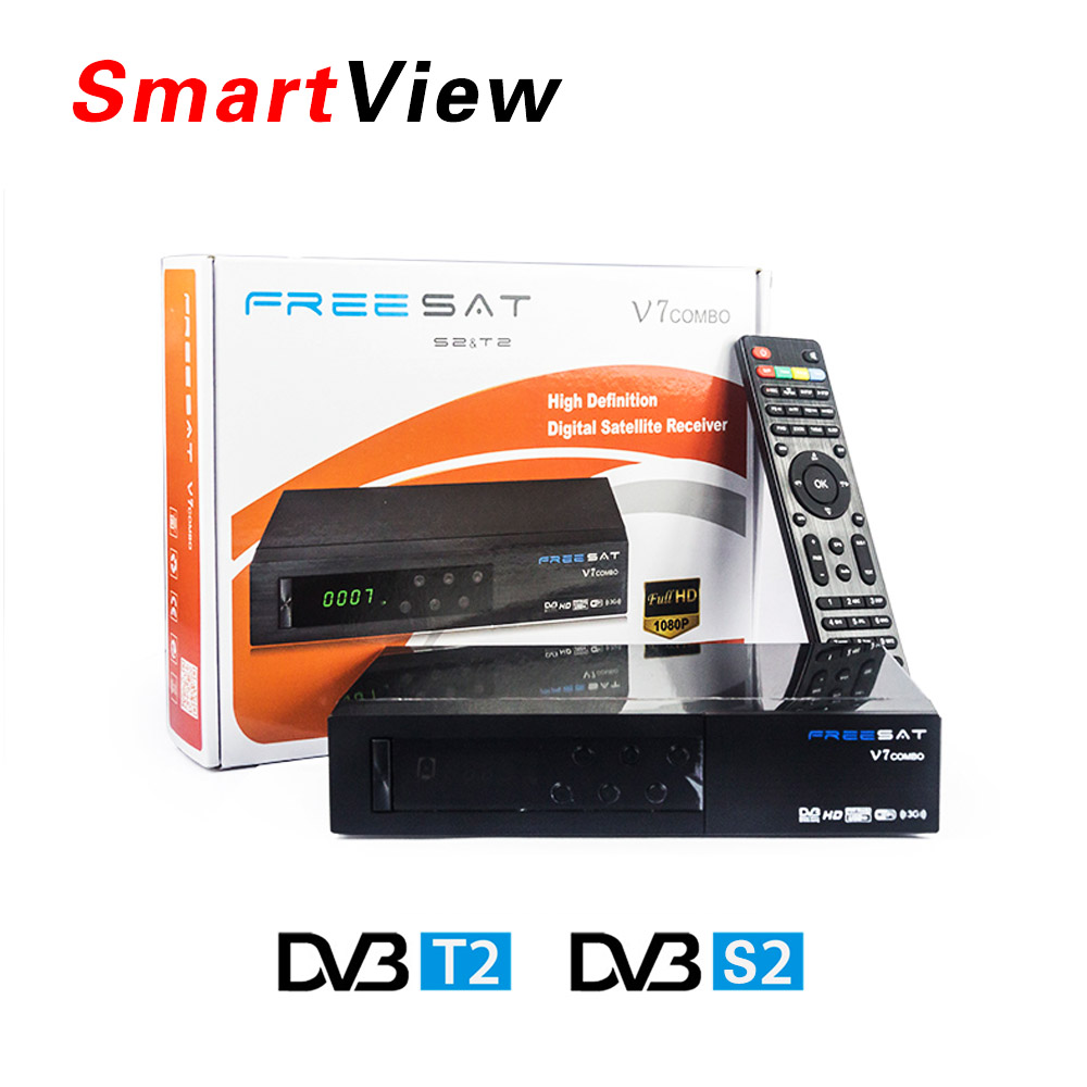 [Genuine] Freesat V7 Combo Satellite Receiver DVB S2 + DVB T2  Combo Receiver Support PowerVu Biss Key Cccam Newcam Youtube