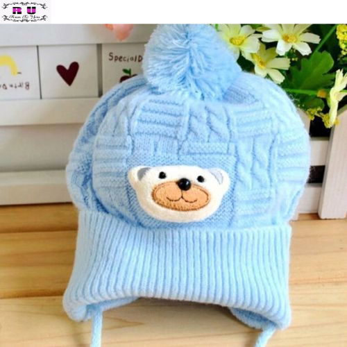 1PC 2015 Winter Baby Boys Girls Soft Crochet Lovely Bear Beanies Hat Infant Toddlers Newborn Cap 0-6 Months Baby Accessories(China (Mainland))