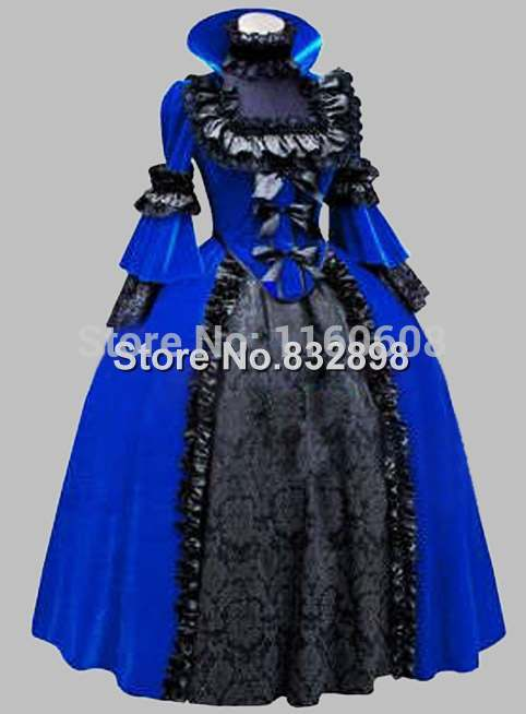 Noble Gothic Black and Blue Victorian 1870/90s Era Dress Ball GownОдежда и ак�е��уары<br><br><br>Aliexpress