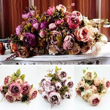 1 Bouquet 10 Heads Vintage Artificial Peony Silk Flower Wedding Home Decor