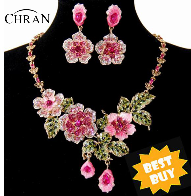 14 Design Gold Plated Price Pink Blue Flower Earrings Necklace Costume Jewelry Sets Wedding  -  Chran Store store