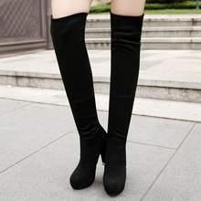Reave Kucing Musim Dingin Baru Seksi High-Heel Slim Sepatu Wanita Paha Sepatu Bot Sepatu Bot Di Atas Lutut Pasang Kaos Bottines ukuran Besar 43 A1038(China)