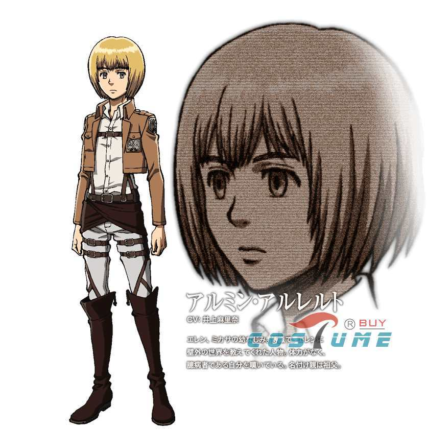 Shingeki no Kyojin Attack on Titan Armin Arlert Cosplay Costume