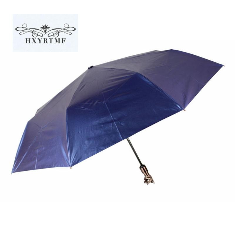 High Quality Unique Owl Fox Animal Head Handle Automatic Black Umbrellas Fashion Sun Rain Umbrella 3 Folding Anti-UV Parasol(China (Mainland))