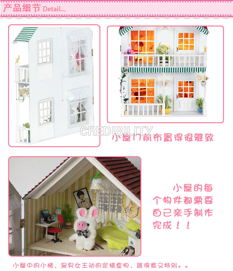 13805 Hongda DIY wood Dollhouse Home of Music voice lights villa doll nimiature youngsters items