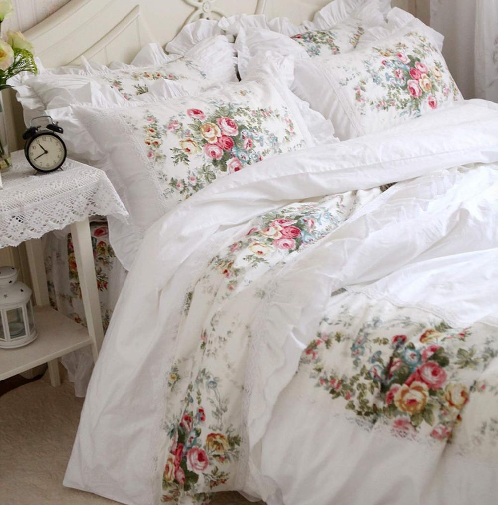 Elegant Vintage Flower Lace Bed Sets Cotton Girls Full