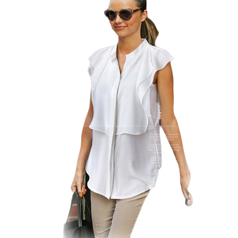 Hot Sale Womens Chiffon Blouses Brand New 2015 Women Tops And Blouses Butterfly Sleeve V-Neck White Shirts blouses verao BG727(China (Mainland))