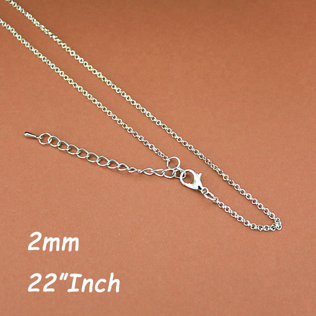 22 2mm Rolo Chains With Lobster Clasp Extender Chains Tear Drops Rhodium Plated Jewelry Necklace Link Chains DIY Findings<br><br>Aliexpress