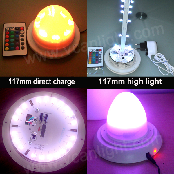 6PCS DHL Free Shipping Remote controller Led furniture base / bulb furniture lighting battery powered christmas led light(China (Mainland))