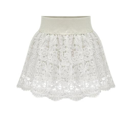 Свободного покроя короткая белый кружево юбка цветочный вышивка лето стиль