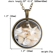 Fashion Glass Vintage Bronze Color Jewelry Newest Conch Pendant Statement Necklace Pendants Fine Jewelry