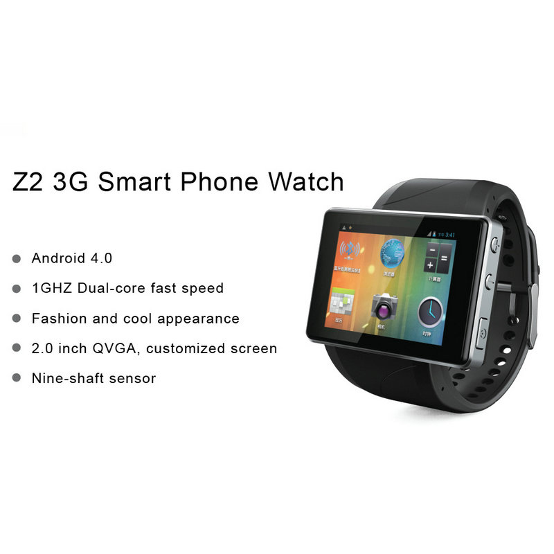 Fashion Z2 3G Android 4.0 OS Smartwatch Bluetooth Watch fashion Mini smartphone mobile phone Pedometer High quality camera(China (Mainland))