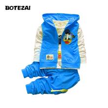 2015 Новых Осенью дети мальчики девочки одежда наборы baby дети мультфильм пальто куртка футболка брюки Дональд Дак одежда набор(China (Mainland))