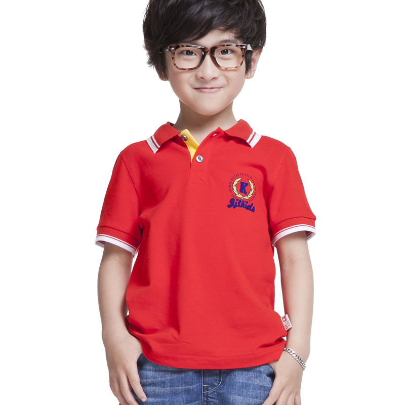 Boy polo shirt short sleeve kids t shirts summer 100 for Toddler boys polo shirts