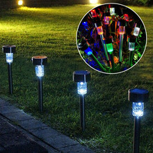 10pcs Stainless Steel Solar Energy Lawn LED Lamp Outdoor Lighting(China (Mainland))