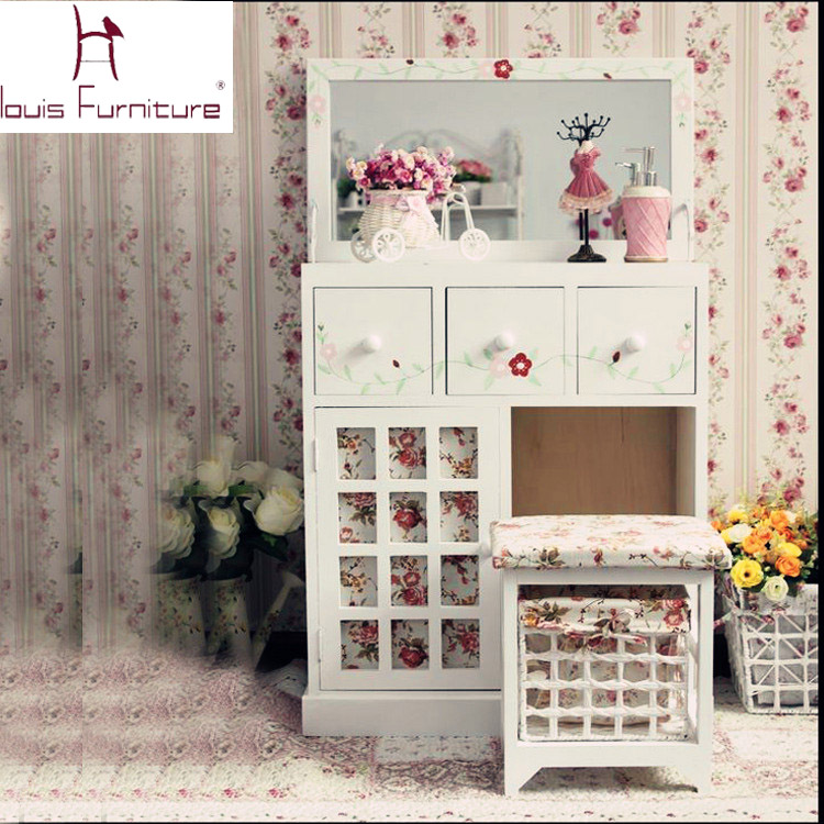 European countryside style bedroom furniture wooden girls dresser dressing table with mirror vanity set(China (Mainland))
