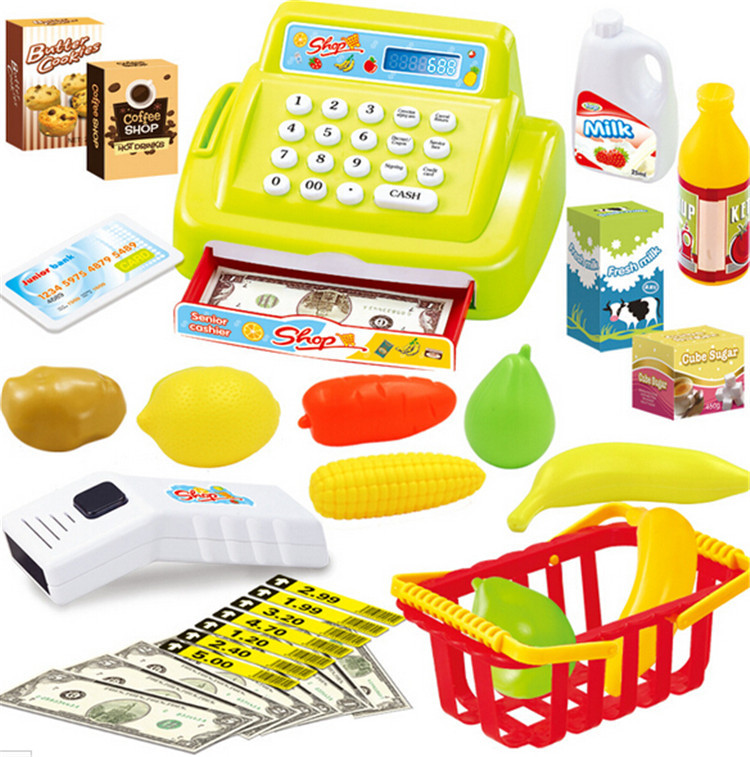 New Baby Educational Toy Pretend Play Register & Scanner Supermarket cash register Children Lovely Babies Riddle Toys 1pcs(China (Mainland))