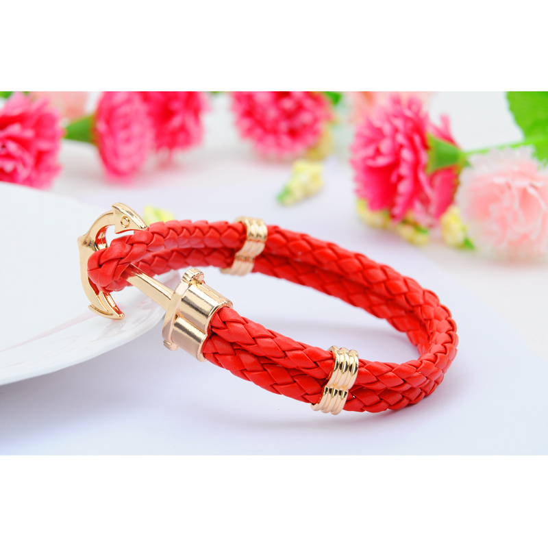 High Quality Fashion Jewelry PU Leather Bracelet Men Anchor Bracelets for Women Best Friend Gift Summer