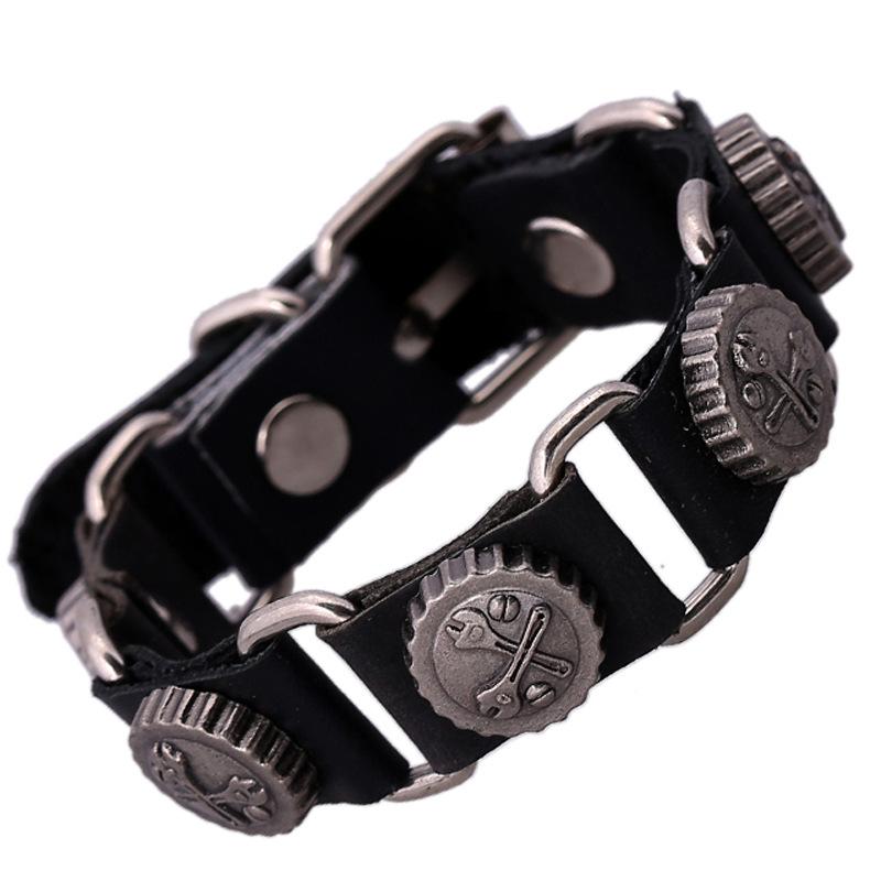 Yiwu jewelry wholesale manufacturers sellin leather wrist band Sell like hot cakes bracelets punk bracelet(China (Mainland))
